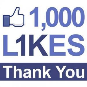 A milestone 1,000 Facebook LIKES!